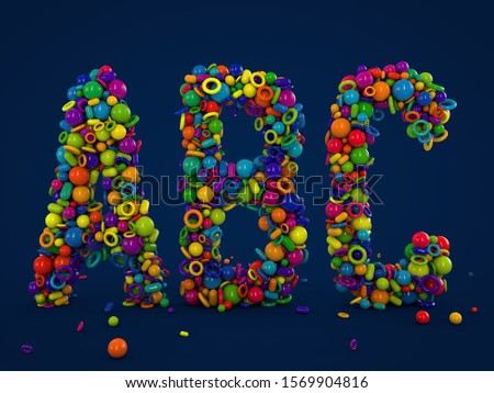 Letters A В С made of color shapes. Luminous multicolor balls. English alphabet 3D rendering. Glass surface. Ice broken into pieces. Letter A, Letter B, Letter C