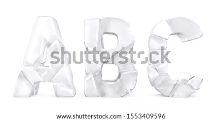 Letters A В С made of cracked glass Letters isolated on white background. English alphabet 3D rendering. Glass surface. Ice broken into pieces. Letter A, Letter B, Letter C