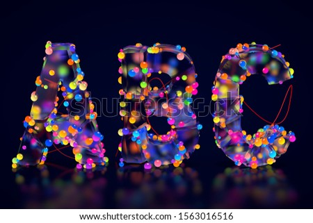 Letters A В С made of cracked glass. Luminous multicolor balls. Letters isolated on black background. English alphabet 3D rendering. Glass surface. Ice broken into pieces. Letter A, Letter B, Letter C