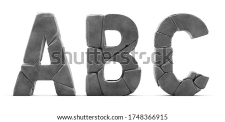 Letters A В С made of cracked rocks. Letters isolated on white background. English alphabet 3D rendering. Stone surface. Stone broken into pieces. Letter A, Letter B, Letter C