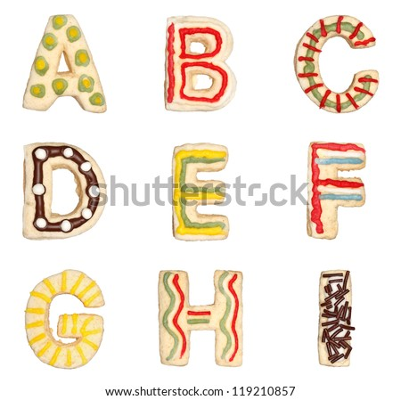 Letters A to I from decorated handmade cookies