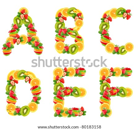 Letters alphabet from fruit