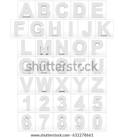 letters and numbers 3d white isolated on white - 3d rendering