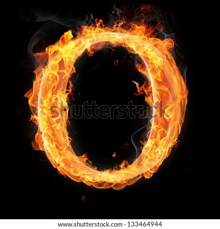Letters and symbols in fire - Letter O.