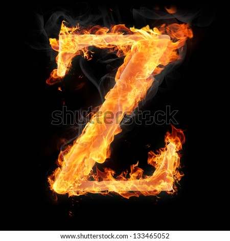 Letters and symbols in fire - Letter Z.
