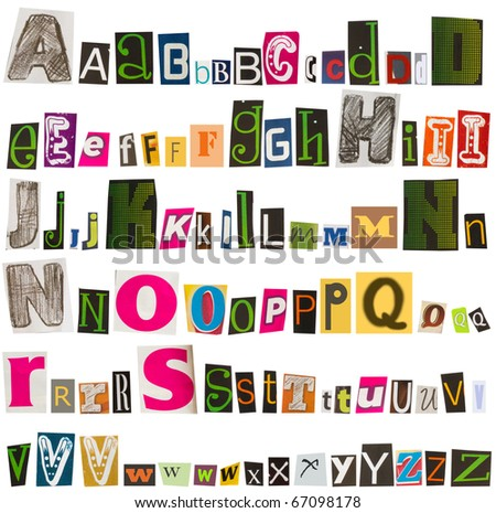 letters cut from magazines, alphabet