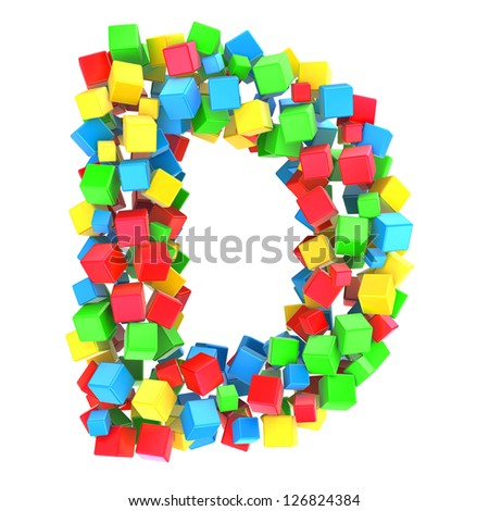 letters D of colorful cube