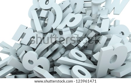 letters falling isolated on white background