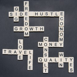 Letters forming Side Hustle and Entrepreneurial words in a cross word style to be used in side hustle gig concepts