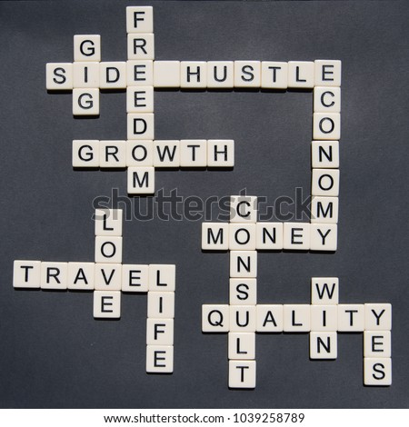 Letters forming Side Hustle and Entrepreneurial words in a cross word style to be used in side hustle gig concepts #1039258789