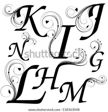 n alphabet design  letters from G till N