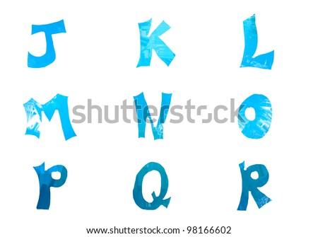 Letters isolated on white in digital colors