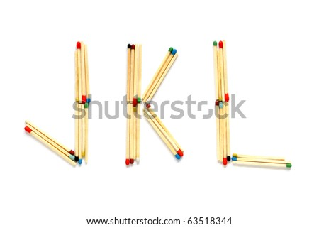 Letters J, K and L made of matches on a white background