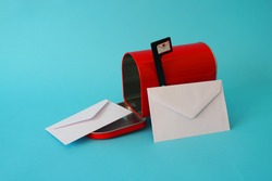 Letters mailbox on colorful background
