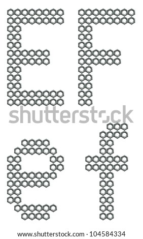 Letters of alphabet, E and F, composed of screw nuts, industrial font