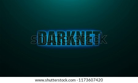 Letters of Darknet text on background with top light, 3d rendering background, computer generating