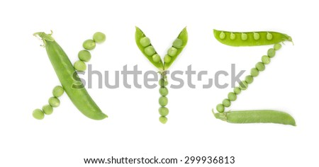 Letters of english alphabet with unique design of the pods of green peas. ABC. Each letter represents a unique and inimitable combination of pods and peas. Zdjęcia stock ©