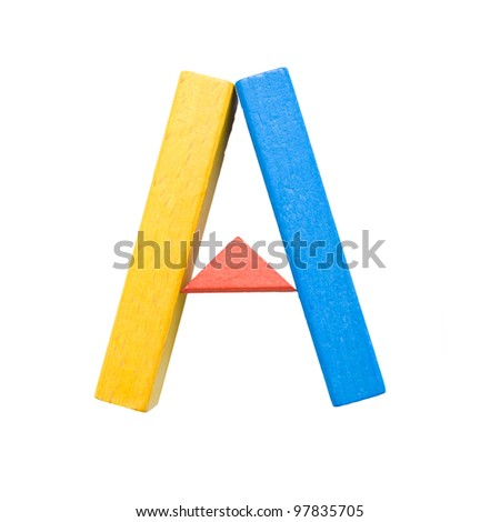 """Letters of the alphabet, composed of colorful wooden toy blocks. The letter """"A"""" isolated on a white background with clipping path."""