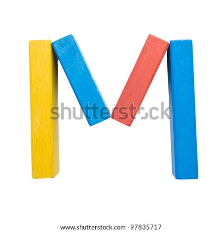 "Letters of the alphabet, composed of colorful wooden toy blocks. The letter ""M"" isolated on a white background with clipping path."