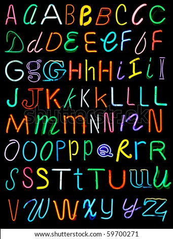 Letters of the alphabet made from neon signs #59700271
