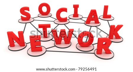"""Letters of the words """"social network"""" are intertwined in the form of the concept of social network"""