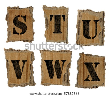 Letters on the lacerated cardboard
