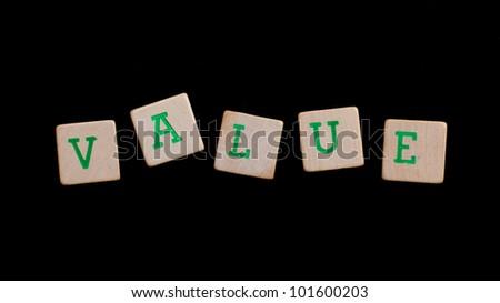 Letters on wooden blocks (value)