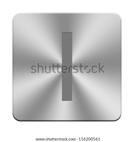 Letters, sign and symbol on aluminium buttons, keyboard buttons
