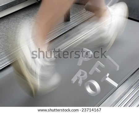 Letters spelling profit hover over man on treadmill