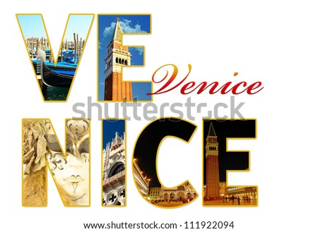 Letters with photos of Venice, Italy