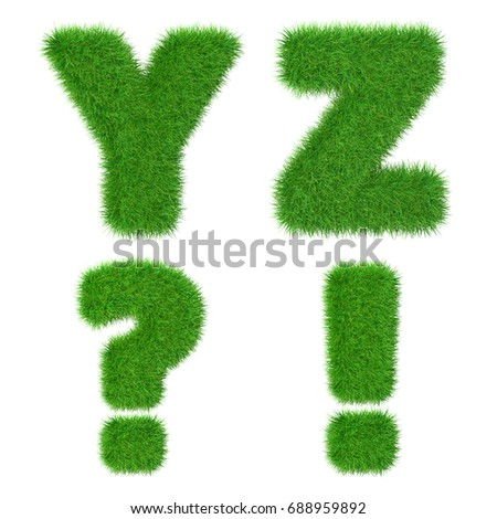 Letters Y Z I ? isolated on white, 3d illustration Stock fotó ©