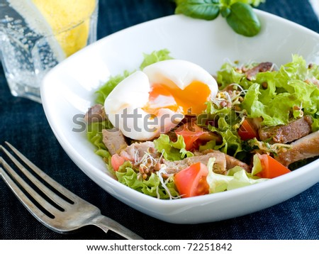 Lettuce and beef vegetable salad, with egg. Delicious healthy eating.