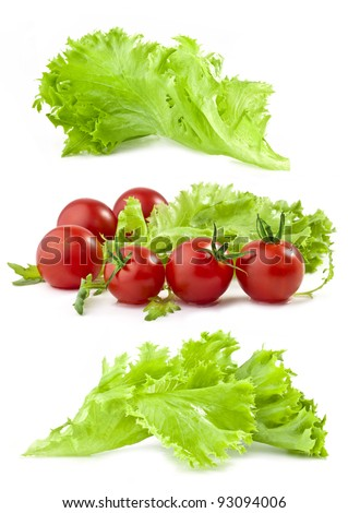 Lettuce and tomatoes isolated on white background