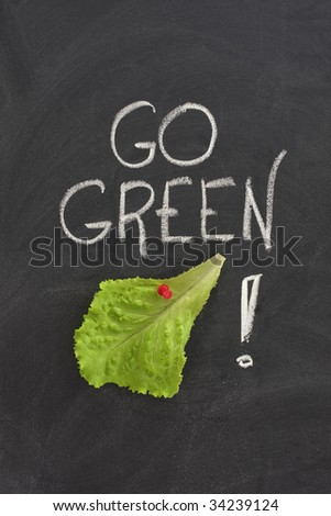 lettuce leaf posted on a blackboard, go green concept - environment conservation or healthy diet