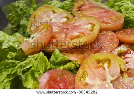 Lettuce salad with tomato with amazing colors