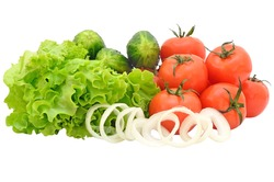 Lettuce, tomatoes, cucumbers, onion isolated on white background