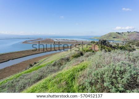 Levees in Don Edwards wildlife refuge, Dumbarton bridge and Coyote Hills Regional Park, Fremont, San Francisco bay area, California Stockfoto ©