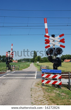 level crossing and traffic-lights in countryside