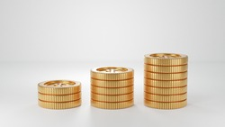 level of coin stacks in white background. 3D render images. Money Saving concept.