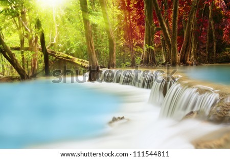 Level two of Huai Mae Kamin Waterfall in Kanchanaburi Province, Thailand