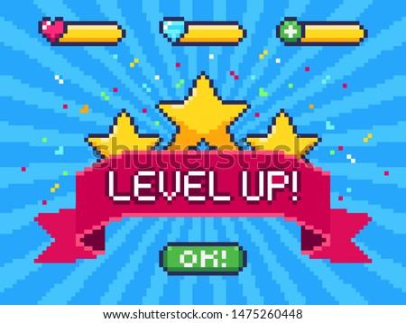 Level Up screen. Pixel video game achievement, pixels 8 bit games ui and gaming level progress. Arcade games achievements or pixelation gaming trophy illustration