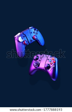 Levitation of two controller joysticks. Concept of gaming and entertainment.