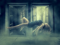 Levitation portrait young woman in her house. Lady floating girl flying in apartment room. Astral travel meditation mystical rapture state psychokinesis condition. Magic energy show human Illusion