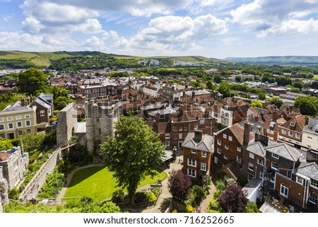 Lewes Castle and Landscape, Lewes, East Sussex, England Zdjęcia stock ©