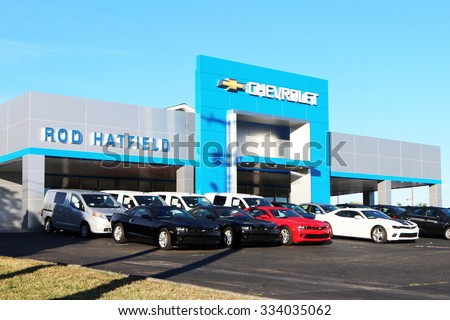 LEXINGTON, KY OCTOBER, 2015: Local Chevrolet Dealership With A Lot Full Of
