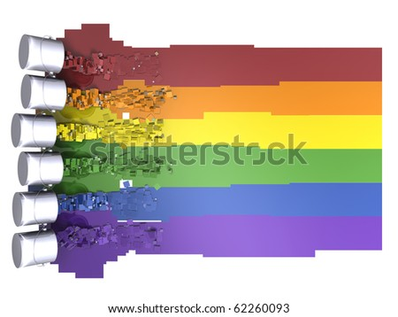 LGBT flag made up of 3D pixellated paint - stock photo