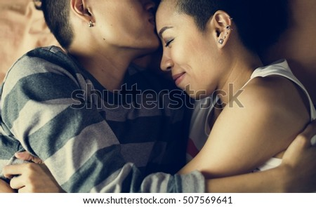 LGBT Lesbian Couple Moments Happiness Concept #507569641