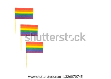 LGBT, LGBTQ, symbols on rainbow flags, three checkboxes with the symbolism. Rights of homosexual people, gays, lesbians, transgender, other. Tolerance. Isolated background, contrast. #1326070745