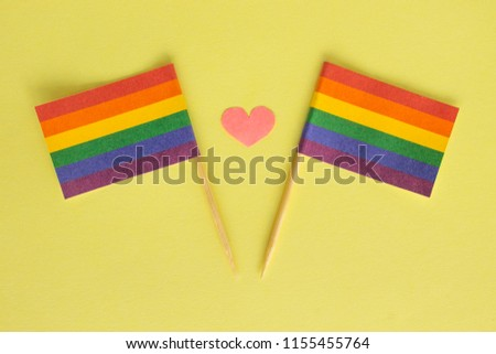 LGBT, LGBTQ, symbols on rainbow flags, two checkboxes with the symbolism, pink heart between them. Family, love. Rights of homosexual people, gays, lesbians, transgender, other. Tolerance. #1155455764