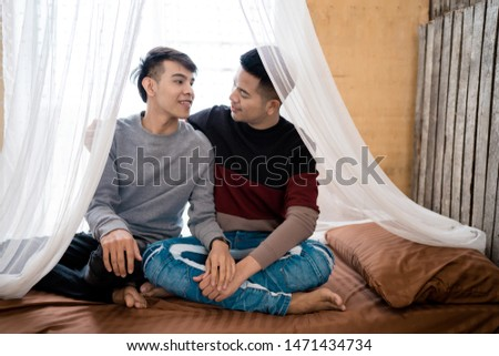 LGBT Men Home Life : Male homosexual couple Embraced in the bed in the bedroom #1471434734